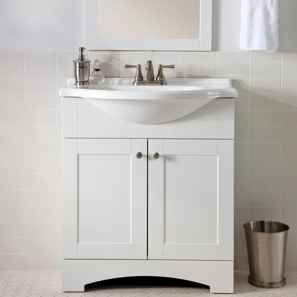 Glacier Bay Del Mar In W X In D Bath Vanity In White With - Glacier bay bathroom cabinets for bathroom decor ideas