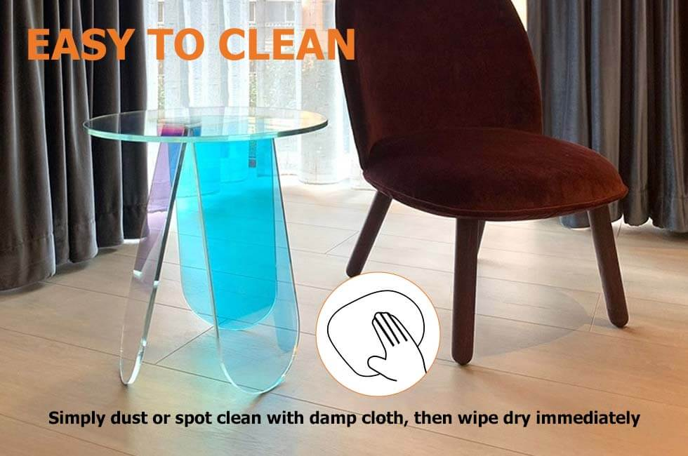 Acrylic End Table Clear Round Side Table Modern Accent ...