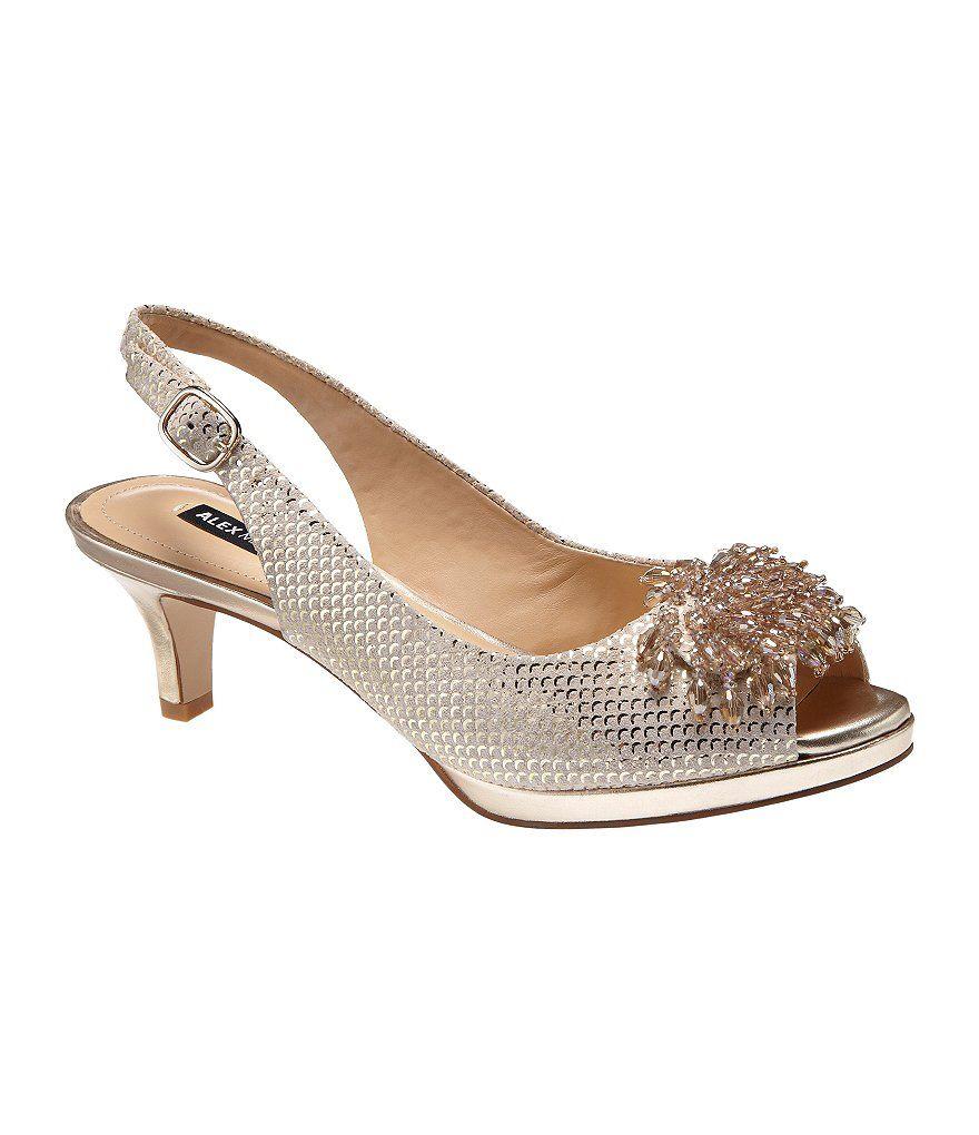 dd3cdeddcc1 Sand Gold Alex Marie Marla Metallic Jeweled Peep-Toe Pumps