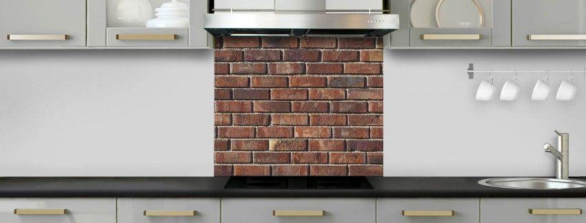 Crédence de cuisine Briques anciennes rouges sur mesure fond de - hotte de cuisine  cm