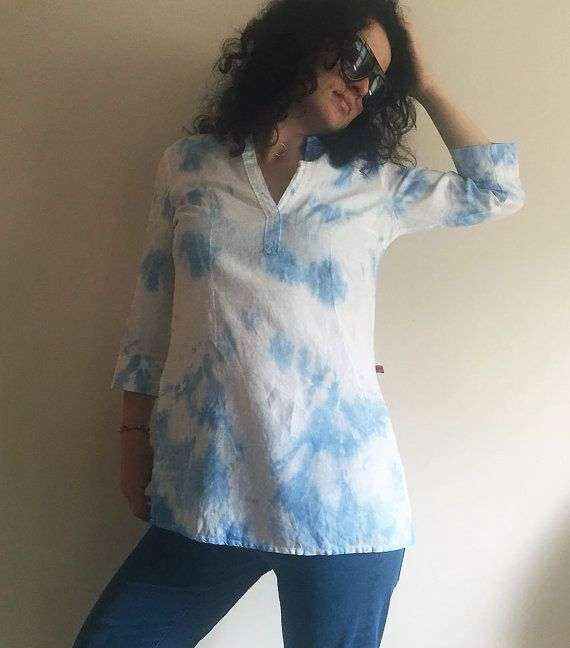 Turquoise Blue Tie Dye Shirt Hand Dyed Unique Womens by NEIandMO