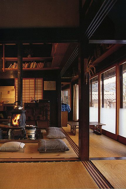 japanese farmhouse interior with wood stove to replace original irori lo res pinterest. Black Bedroom Furniture Sets. Home Design Ideas