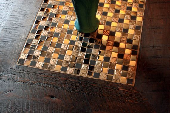 Square Coffee Table Glass Stone Tile Mosaic Reclaimed Etsy Square Glass Coffee Table Coffee Table Square Stone Tiles