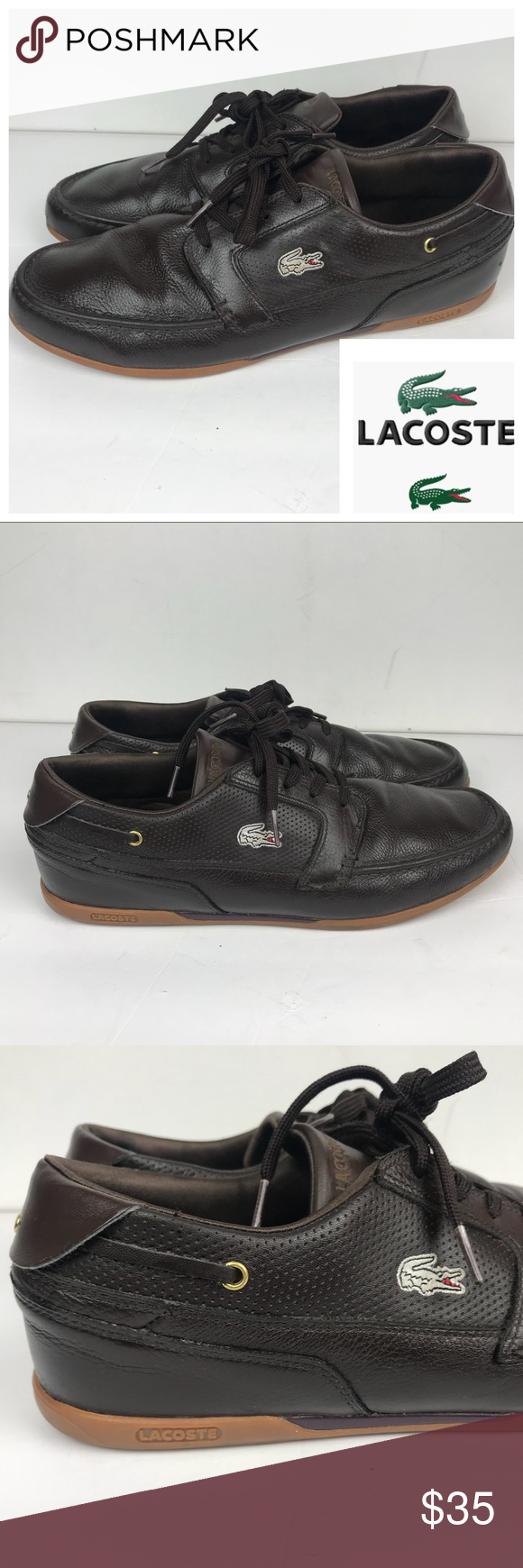 35fbe008dcd1e Lacoste Dreyfus Brown Leather Boat Shoes Sz 12 •Pre-Loved