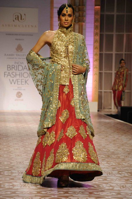 Love This Color Combination An Orange Red Raw Silk Lehenga With A Mint Green Dupatta Indian Bridal WearIndian