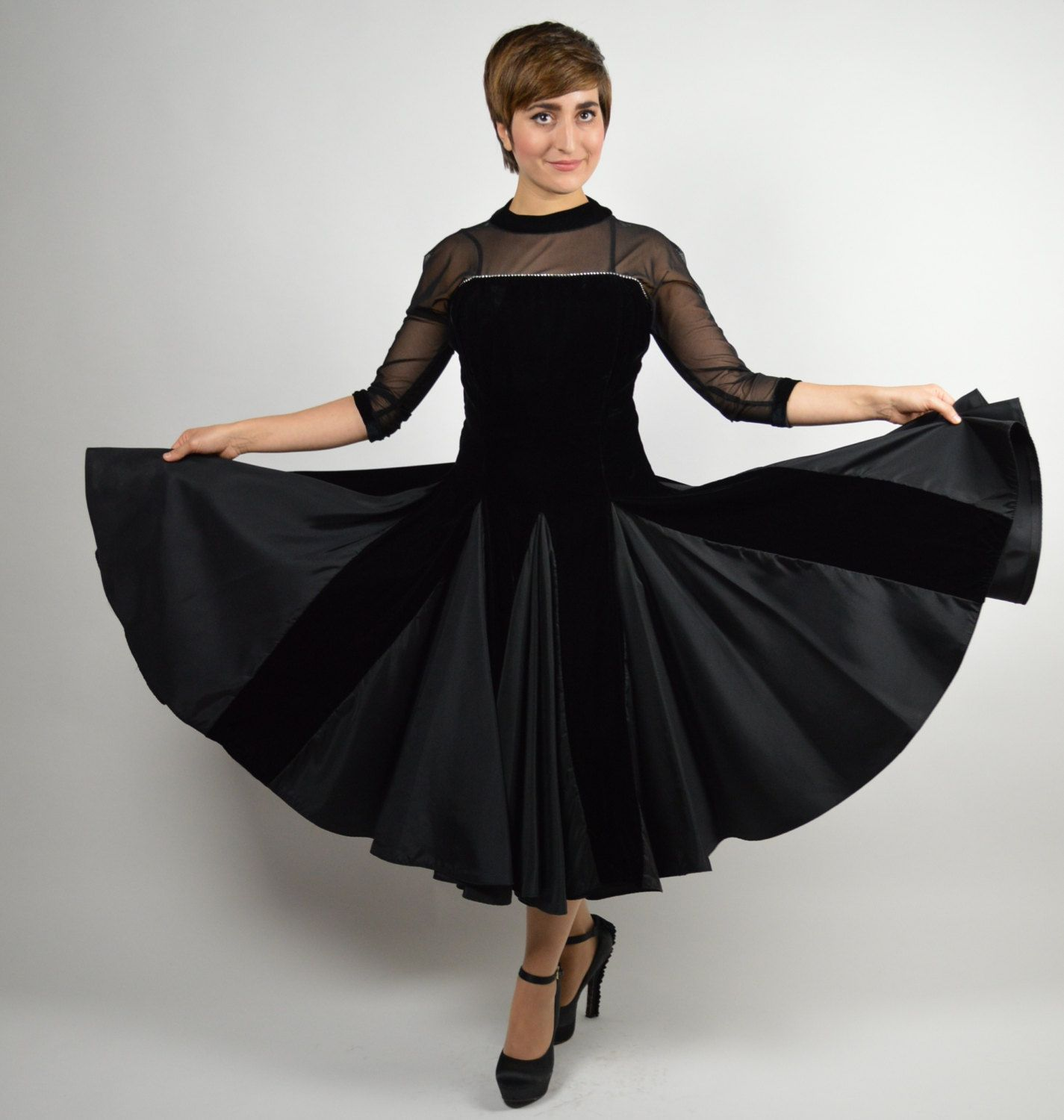 1a206c6a65f6 1950s Vintage Black Pleated Velvet Cocktail