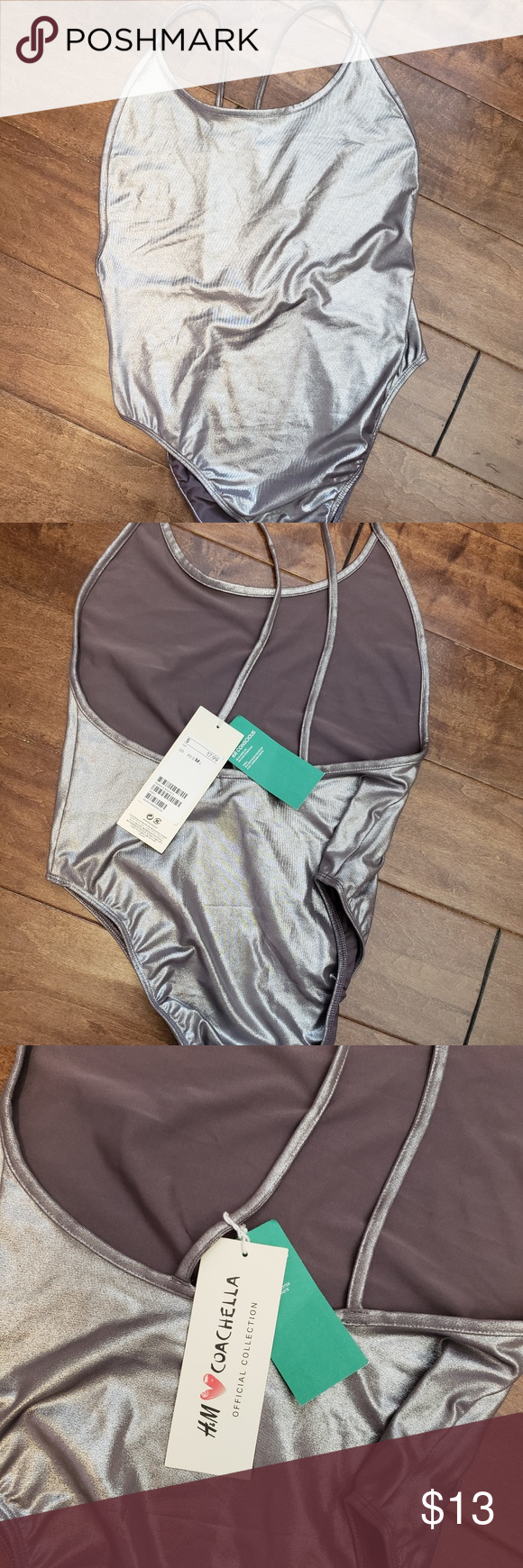 c1b88ee4a207e H&M one piece swimsuit. Silver metallic. New. Size M H&M Swim One Pieces