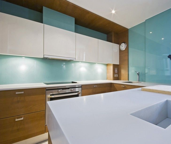 minimalist wooden kitchen unit with colorful mosaic backsplash | Kitchen, Light Blue Acrylic Sheet Installation For ...