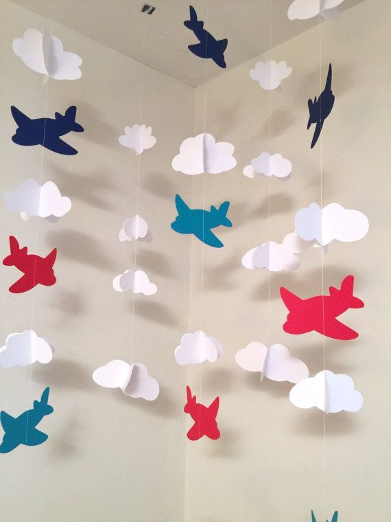 Airplane Nursery Mobile Airplane birthday garland backdrop Time