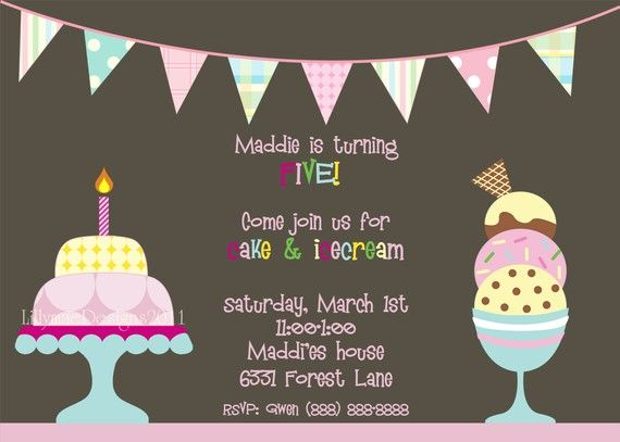 cake and ice cream birthday party invitation digital file ice
