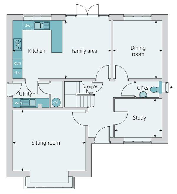 Ground floor plan image of the The Arundel – Bovis Homes Floor Plans