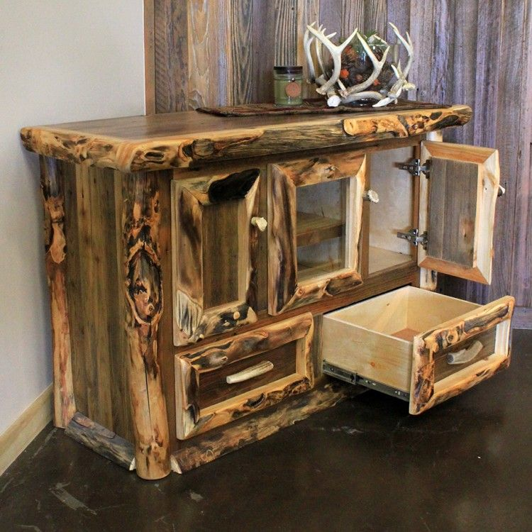 A Beautiful Mix Of Extra Character Aspen Logs With Barn Wood Make Up This Tv Stand In A Cle Rustic Furniture Rustic Living Room Furniture Rustic Wood Furniture