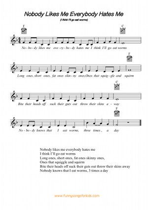 Free Sheet Music Lyrics And Chords For The Childrens Song Nobody