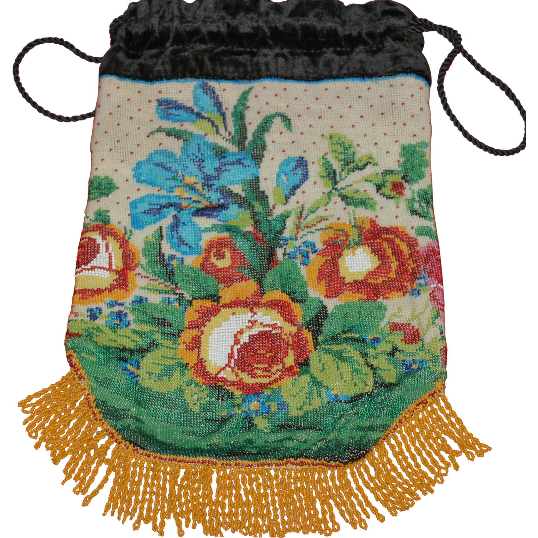 Antique Beaded Purse Two Color Patterns Reticule   Color