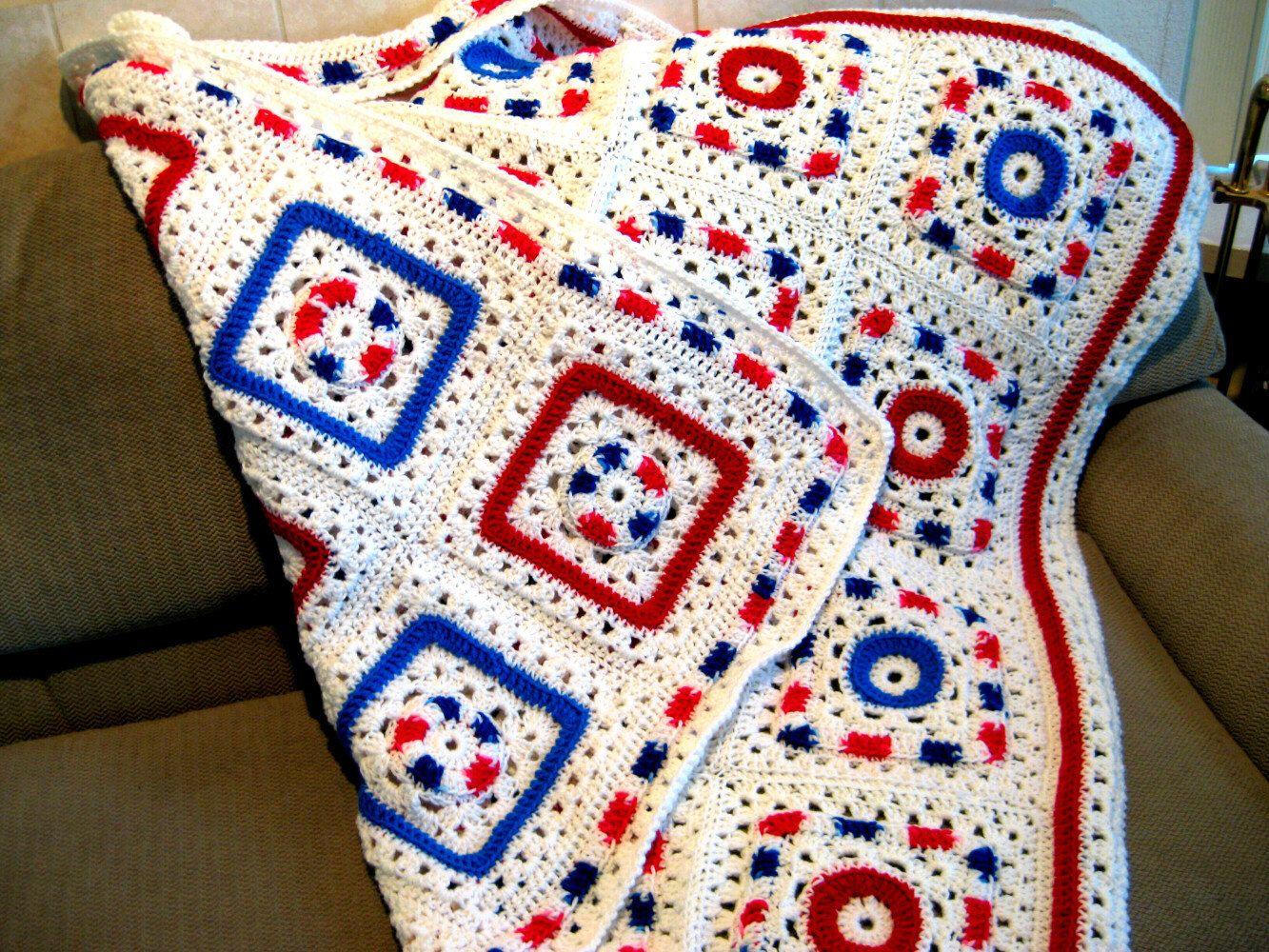 Granny Square Afghan pattern, Crochet, Reversible, PDF Crochet ...