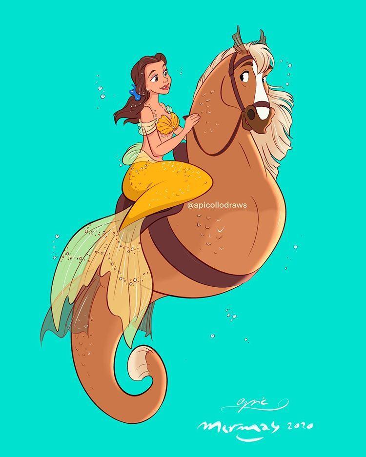 "Alex Pick on Instagram: ""Mermaid Belle on Philippe the Seahorse for #mermay2020 🌊 . . . . . . . . . . . . . . . . . . . . #apicollodraws #drawing #draw #mermay…"""
