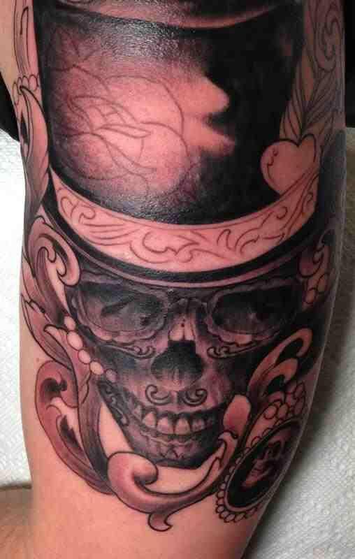 Skull Top Hat Tattoo Stuff Pinterest Tattoos Map Tattoos And
