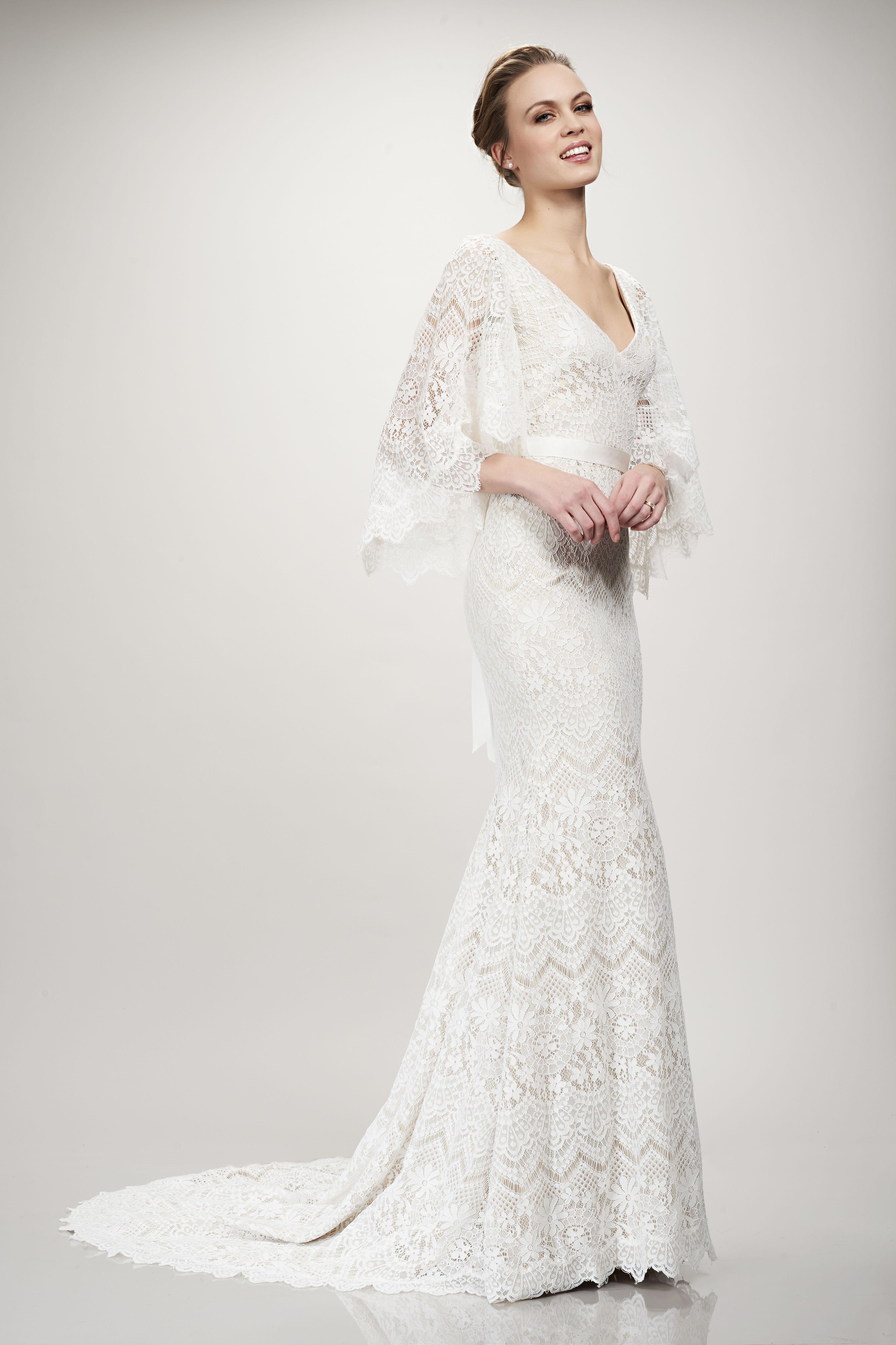 Boho wedding dress with sleeves  THEIA Bridal Sandy Bridal Gown boho bohemian lace cape wedding dress