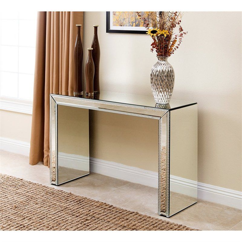 Abbyson Living Ivy Studded Mirror Console Table In Silver Tm Gd