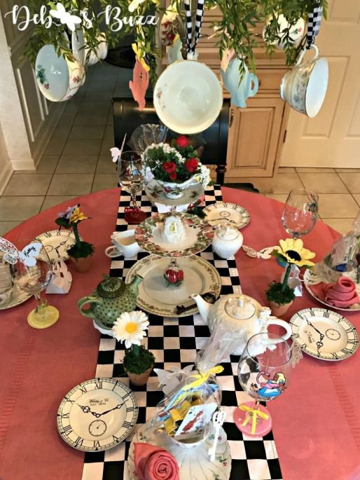Alice in Wonderland Table and Party Favors with decorated chandelier