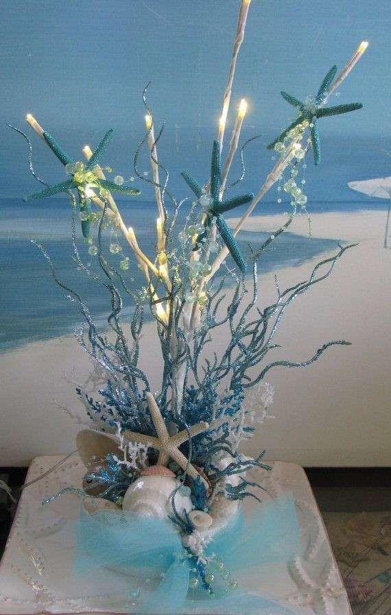Centrotavola A Tema Marino Centrotavola Luminoso Romantico Centrotavola Temi Da Spiaggia Matrimoni A Tema Spiaggia