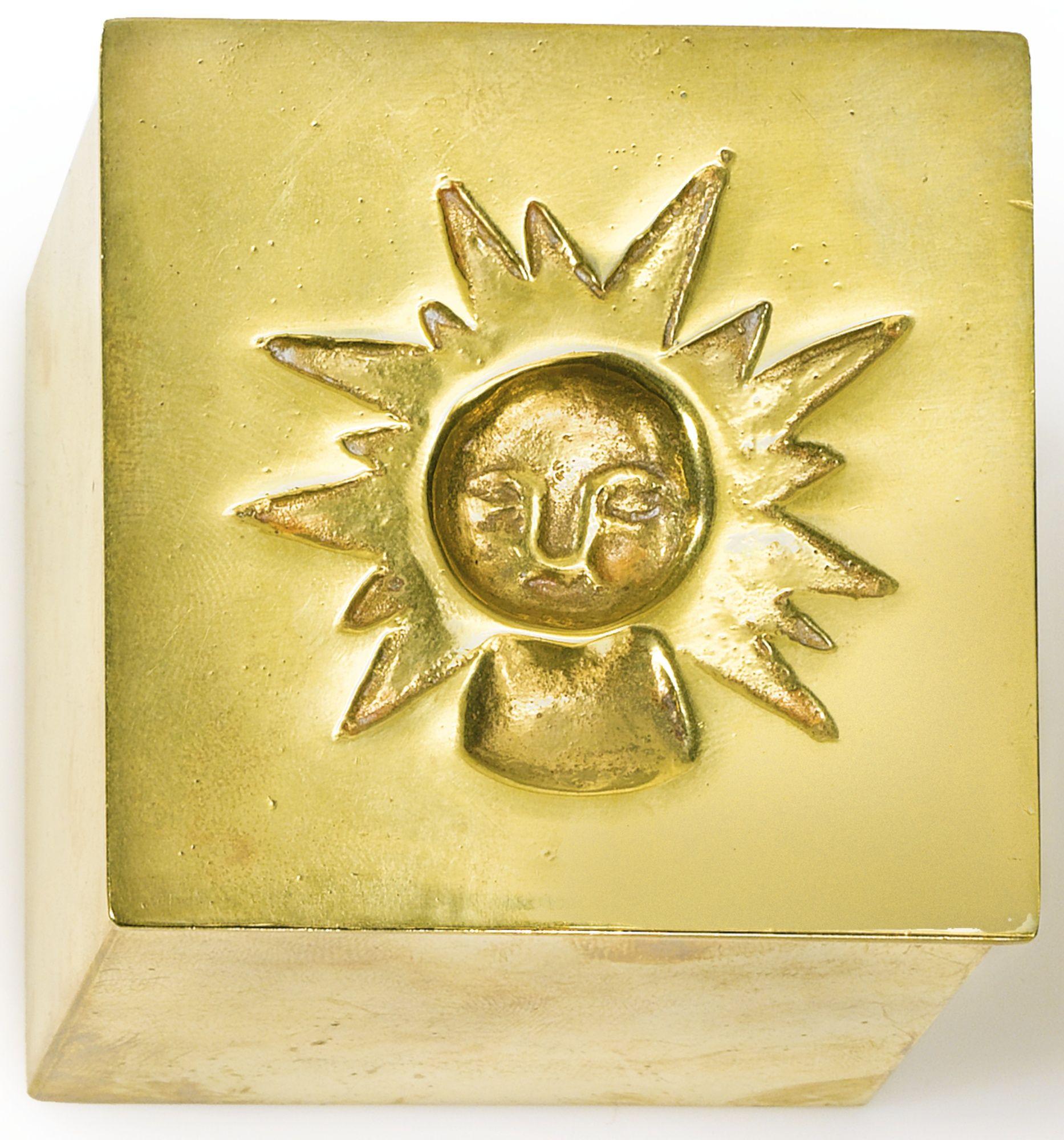 "LINE VAUTRIN "" Soleil et Lune"" Box, circa 1945 | Gilt bronze and cork; iImpressed ""LINE VAUTRIN; 2 5/8 x 2 3/8 x 2 1/2 in. (6.7 x 6 x 6.4 cm) | SOTHEBY'S"