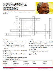 Free Nelson Mandela Worksheets, Crossword Puzzle | PEOPLE WHO CHANGE ...
