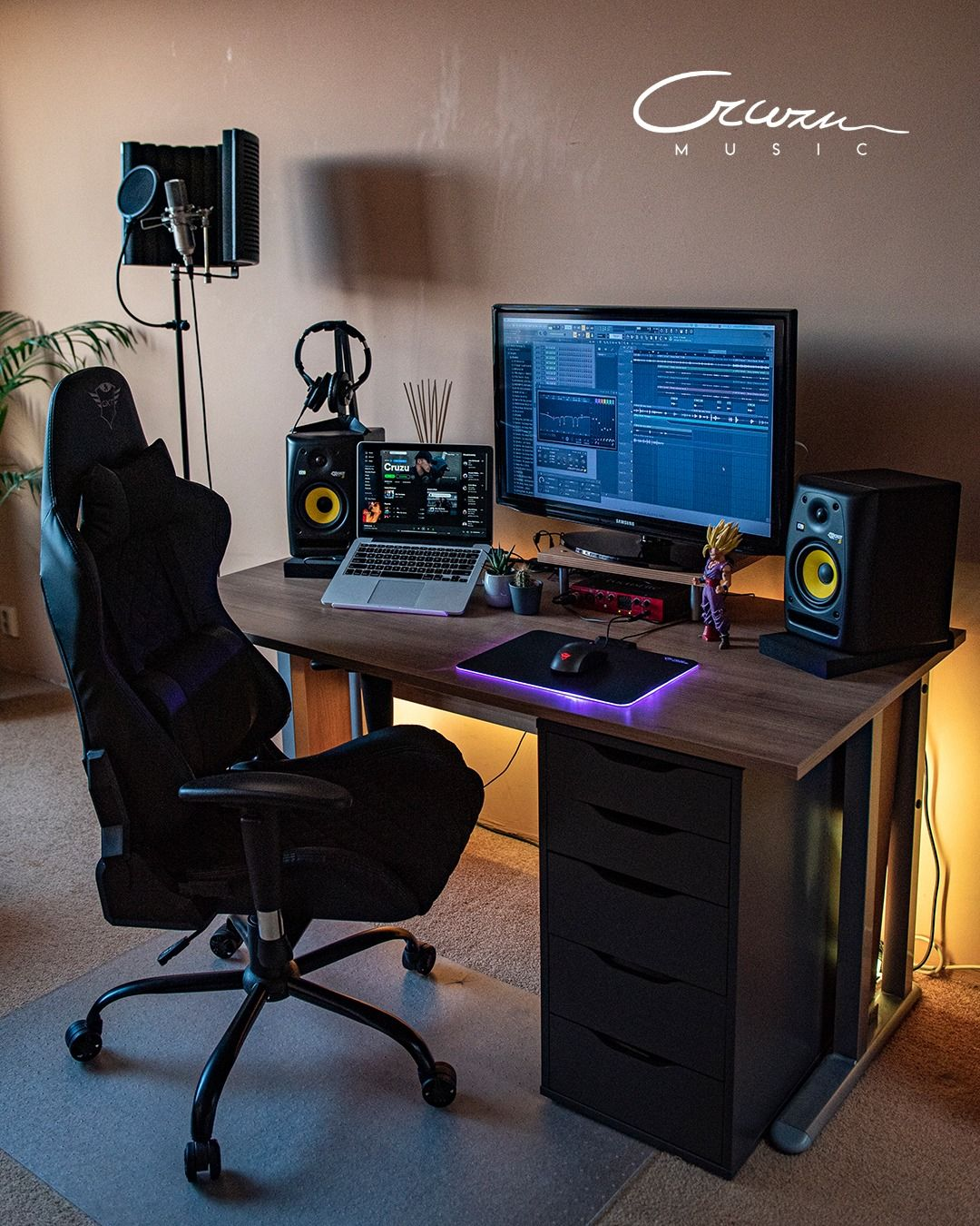 The home studio setup essentials Microphone with stand