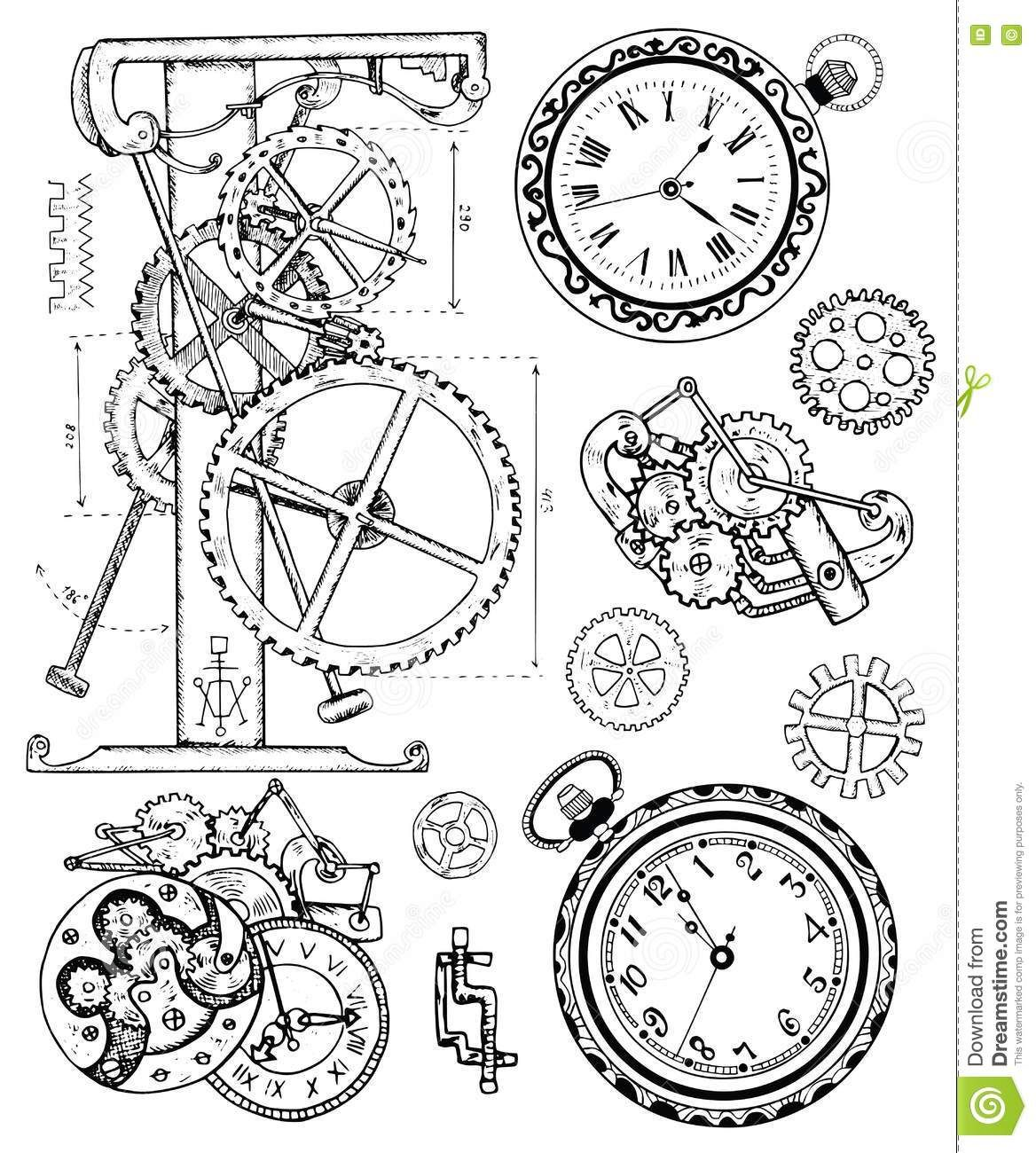 Graphic Set With Vintage Clock Mechanism In Steampunk