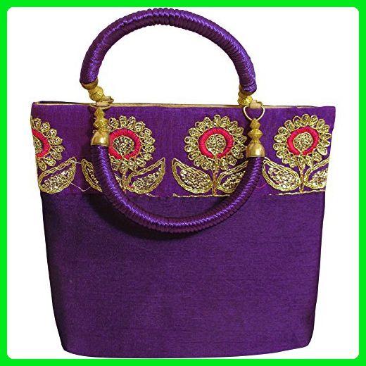Indian Silk Shimmering Fl Embroidered Cellphone Key Holder Wristlet Handbag Purple Wristlets Partner Link