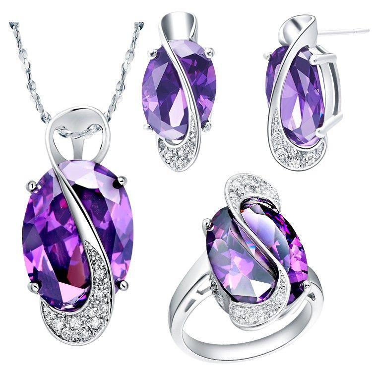 Sterling 925 Silver Jewelry Set Wedding Love Oval Blue Red Purple Sapphire Stone CZ Zircon Ring Pendant Earrings Finely Cut Pave
