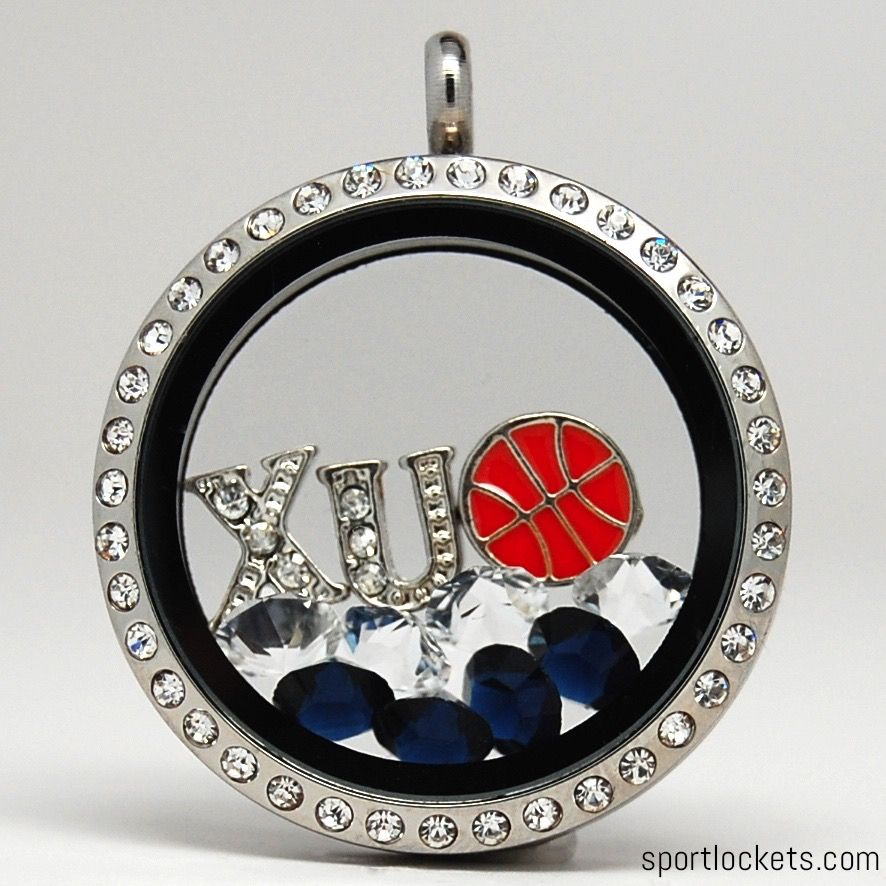 Xavier Musketeers themed locket necklace from SportLockets.com. Customize with your own letters, stones, and charms!