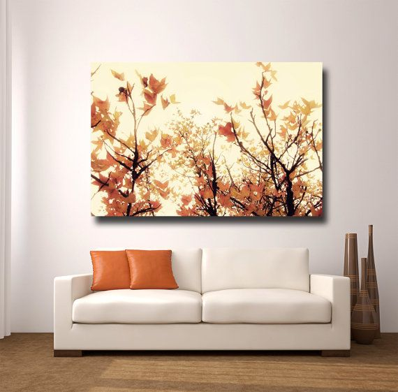 Large Orange Wall Art Canvas Gallery Wrap By