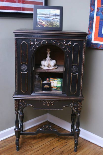 Painted Foyer Cabinets : Antique radio cabinet used as foyer table google search