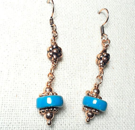 Sky Blue Stoneware Bead and Copper Earrings by Justatishdesigns
