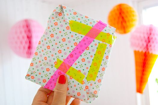 bright wrapping paper + neon tape