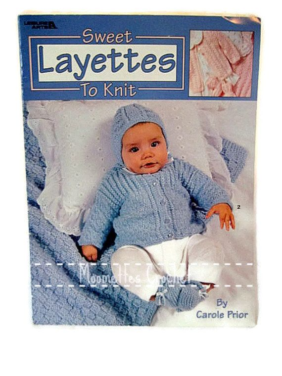 Vintage Knitting Pattern Book, Sweet Layettes to Knit, Leisure Arts Pattern Leaflet #baby #knitting by MoomettesCrochet