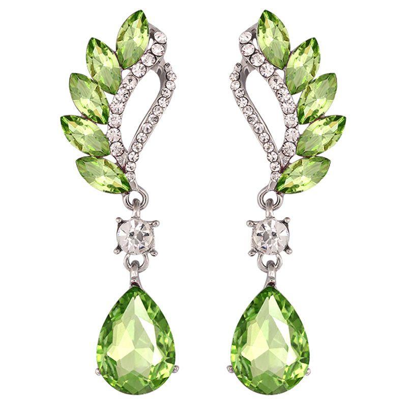 Beautiful Female Long Big Crystal Earrings Cuffs Fashion Jewelry Bridal Wedding Vintage Drop Earrings For Women green