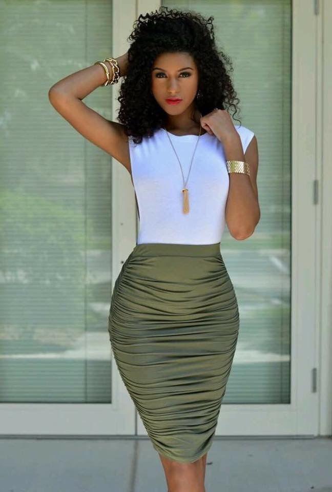 132e3beba Outfits verde olivo. Falda tubo | Outfits en 2019 | Falda tipo lapiz ...