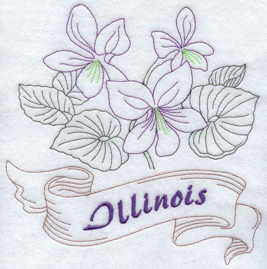 Illinois - Purple Violet (Redwork)