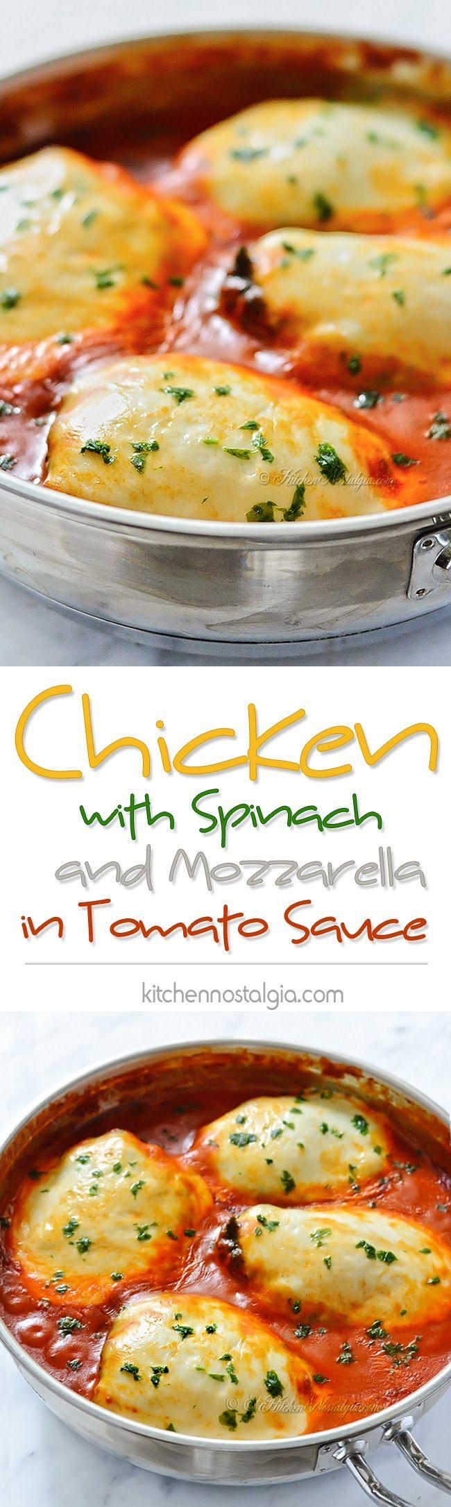 Chicken with Spinach and Mozzarella in Tomato Sauce