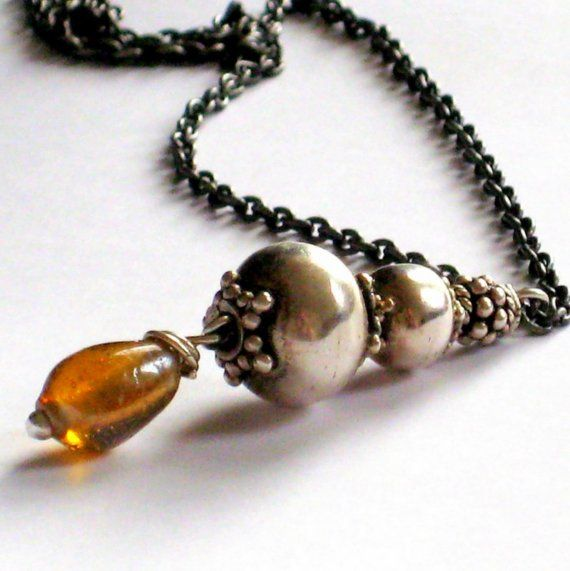 Shoply.com -Sterling Silver Genie Bottle Pendant Necklace With Amber Glass Bead. Only $49.00