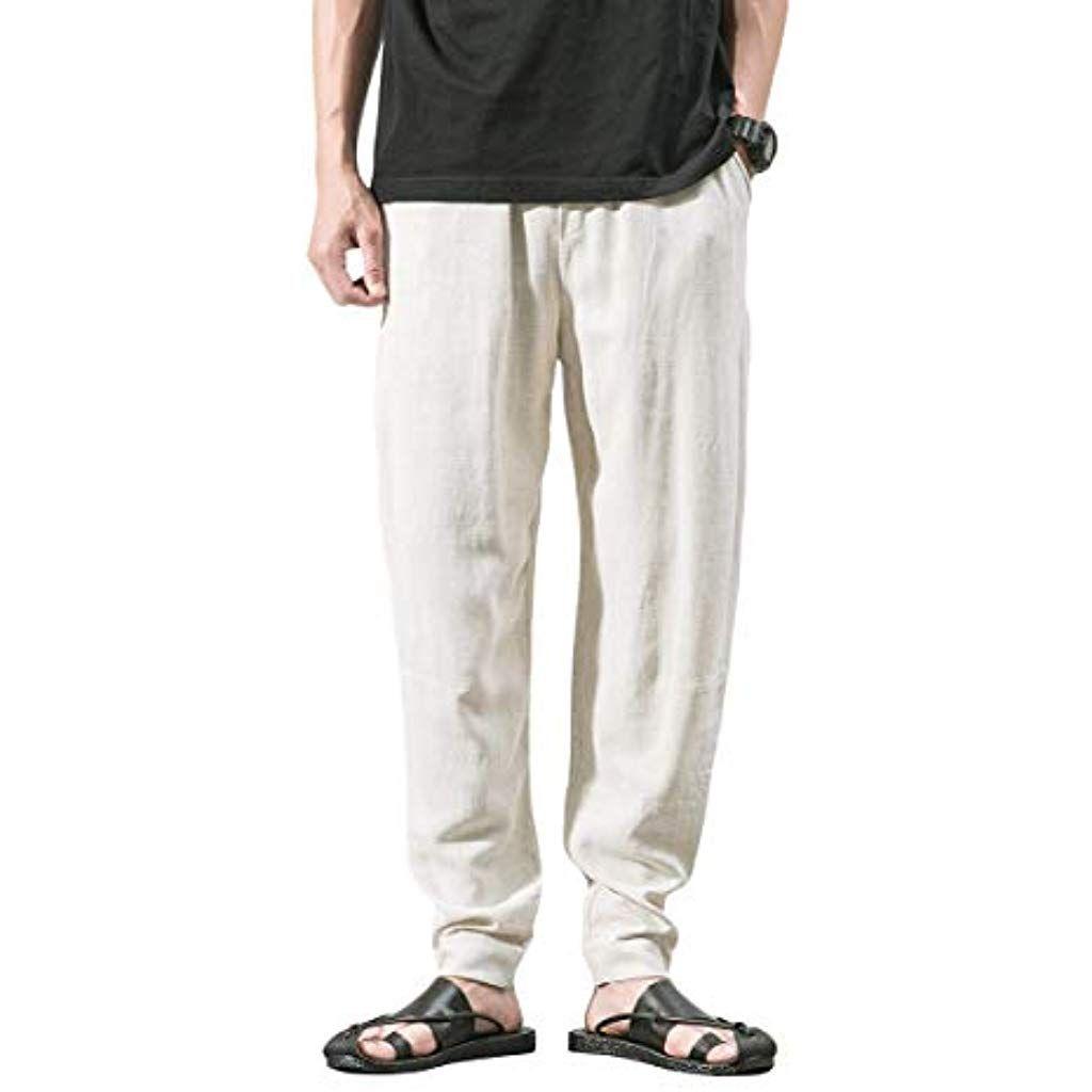 nuovo di zecca 168e0 72736 YOUTHUP Pantaloni da Uomo Pantaloni di Lino Casual Regular ...