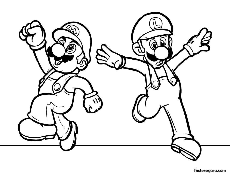 Printabel cartoon Super Mario coloring pages for kids | Kids | Pinterest