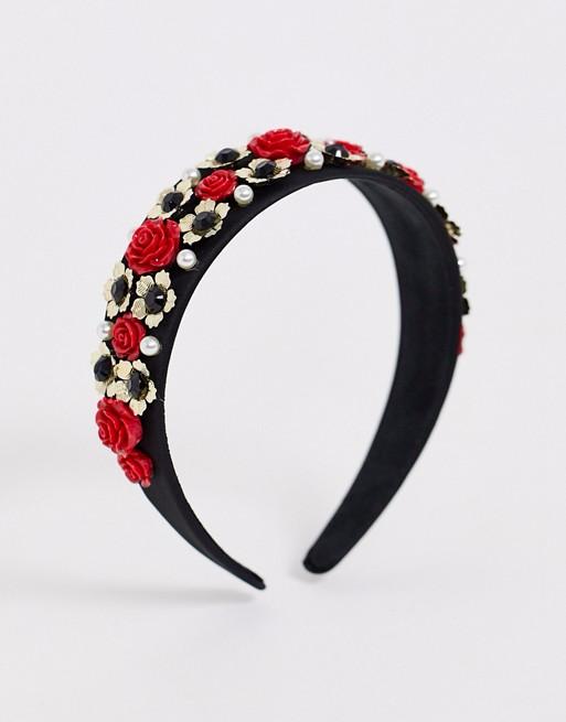 French Fashion House Rose black crown headband #crownheadband