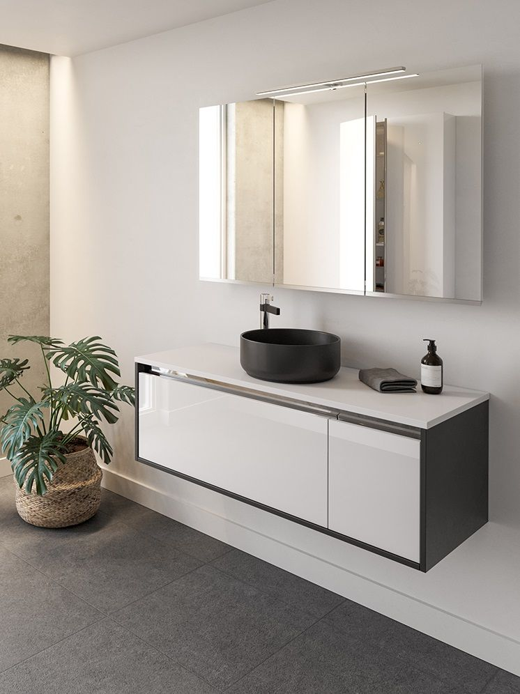 Two Tone Cabinets In 2020 Wall Hung Vanity Two Tone Cabinets Vanity