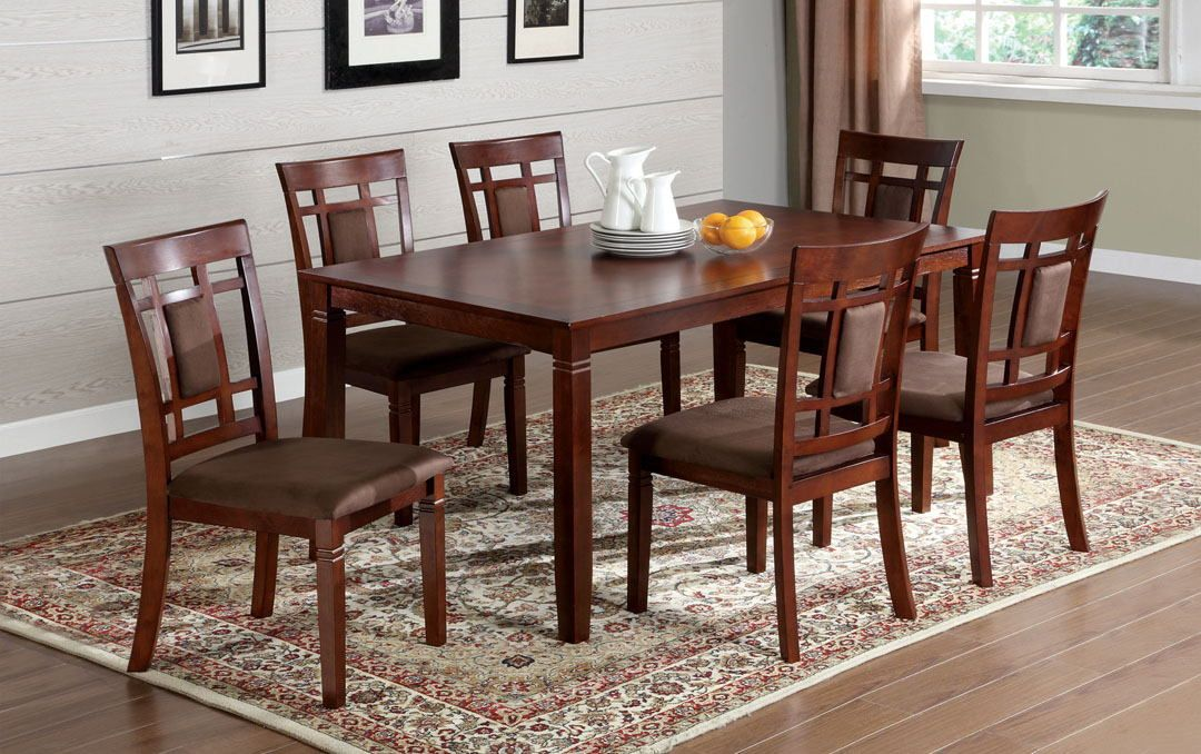 7 Pcmontclair I Transitional Style Dark Cherry Wood Finish Fascinating Cherry Wood Dining Room Set Inspiration Design