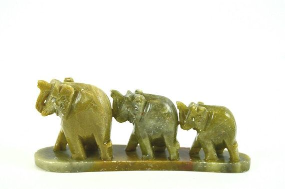 Green Marble Elephant Trio by ButtercupLaneVintage on Etsy