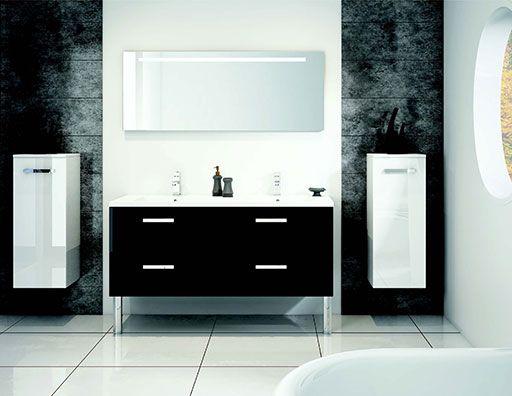 Salle de bains Lotus Noir et Blanc Discac Orialys DISCAC - salle de bain meuble noir