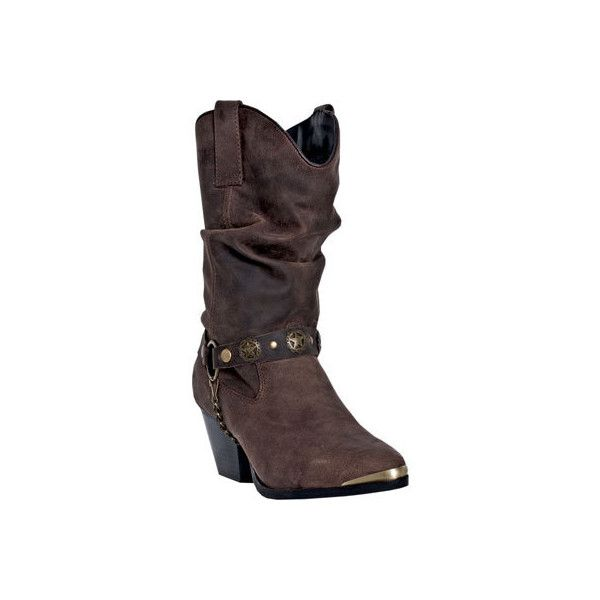Women's Dingo Olivia DI 534 - Dark Brown Pigskin Cowboy Boots ($137) ❤ liked on Polyvore featuring shoes, boots, brown, western style boots, slouch cowboy boots, dark brown cowboy boots, brown cowgirl boots and brown boots